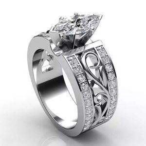 💍Sterling Silver Diamond Engagement Wedding Ring
